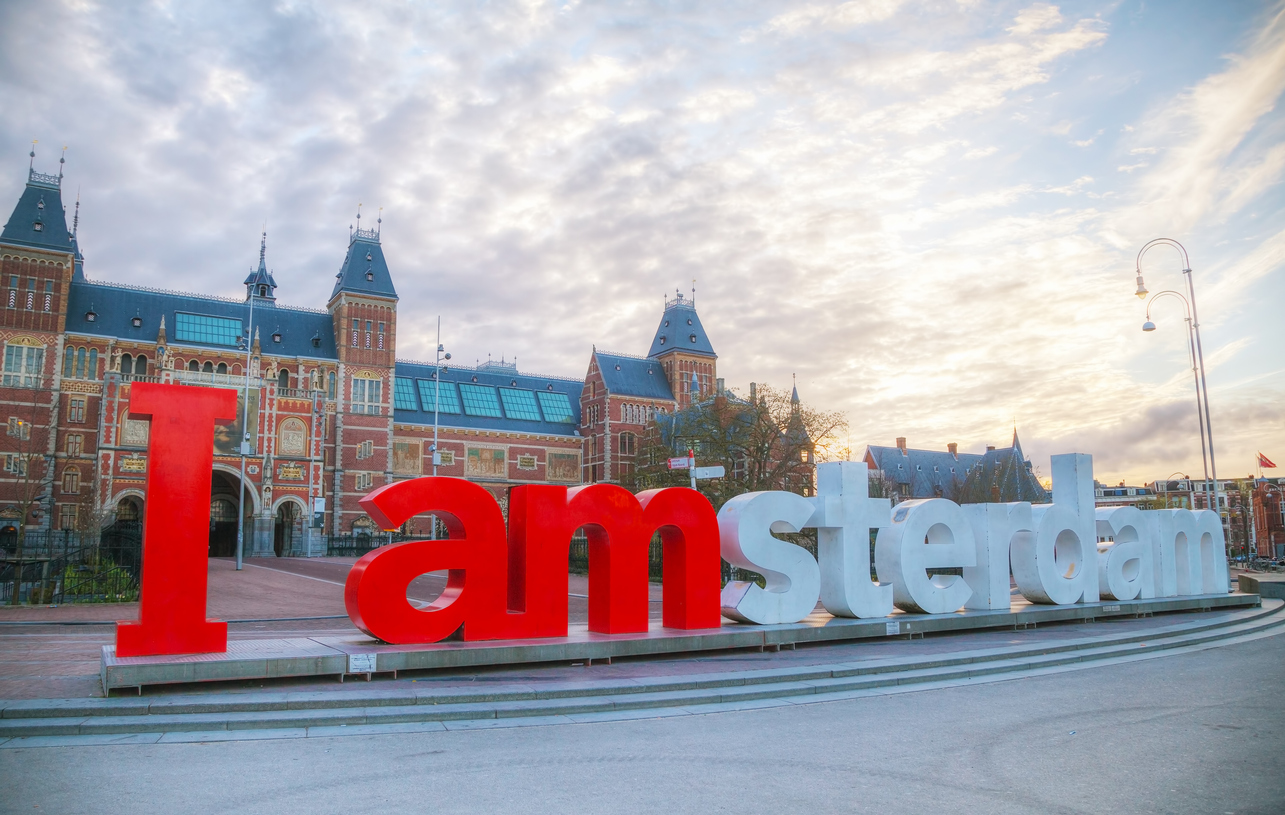 Amsterdam, Netherlands - April 16, 2015: I Amsterdam slogan in Amsterdam, Netherlands. Located at the back of the Rijksmuseum on Museumplein, the slogan quickly became a city icon.